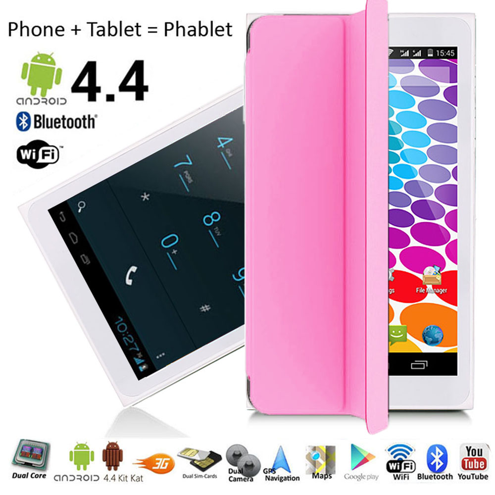 Indigi® Factory Unlocked 3G (2-in-1) SmartPhone & TabletPC w/ Built-In SmartCover + Bluetooth Sync + WiFi (Pink)