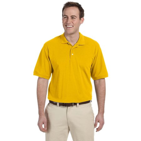 Branded Harriton Mens 56 oz Easy Blend Polo Shirt - SUNRAY YELLOW - M (Instant Saving 5% & more on min 2) - Harriton Mens Easy Blend