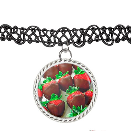 Chocolate Covered Strawberries Food For Valentines Choker Pendant Charm Necklace