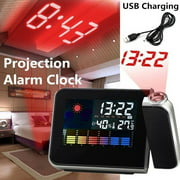 USB Digital LED Display Projection Alarm Clock Snooze Function Weather Temperature Thermometer Humidity Table Projector Alarm Clock Home Decor