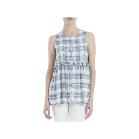 Rayon Woven Shirt - Max Studio Womens Woven Plaid Casual Top