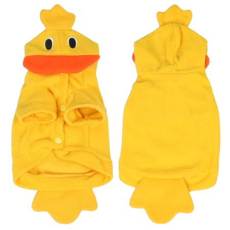 Unique Bargains Halloween Costume Duck Yellow Fleece Puppy Dog Clothes Coat Apparel XS