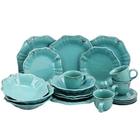 Turquoise Disc - Elama Fleur De Lys 20-Piece Dinnerware Set in Turquoise