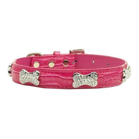 Mirage Pet Products 87-02 XSPK Faux Croc Crystal Bone Collars Pink Extra Small (Crystal Bone Dog Collar Small)