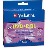 Verbatim, VER95311, AZO 8.5GB DVD+R DL Media Slim Case, 5, Purple