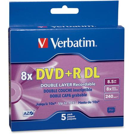 Verbatim (95311), VER95311, AZO 8.5GB DVD+R DL Media Slim Case, 5, Purple