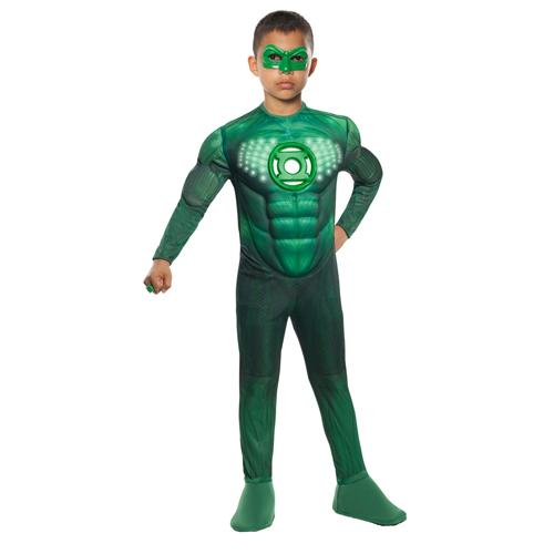 Kids Light-Up Green Lantern Movie Costume Large 10-12