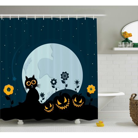 Halloween Shower Curtain, Cute Cat and Lanterns Moon on Floral Field with Starry Night Sky Star Cartoon Art, Fabric Bathroom Set with Hooks, Blue Black, by (Halloween Cartoons 70's 80's)