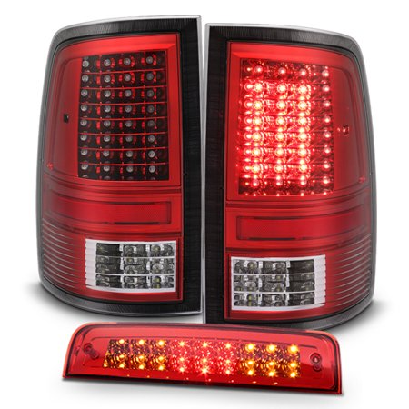 Clear Led Tail Lamps - Fits 09-18 Dodge Ram 1500 2500 3500 LED Red Clear Tail Lights+LED 3Rd Brake Lamp