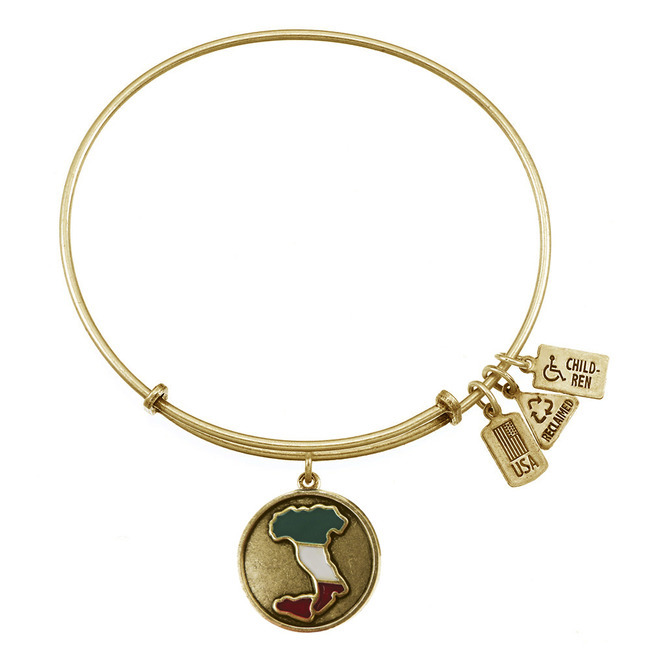 Wind & Fire Map of Italy Boot Gold Charm Bangle
