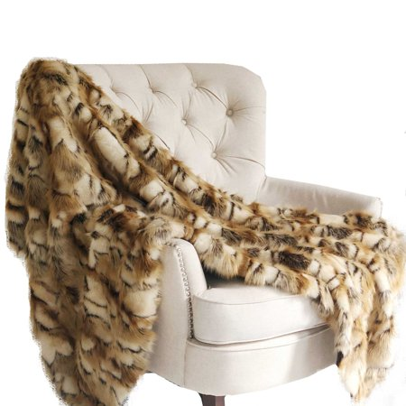 Gold and White Faux Fox Handmade Luxury Throw 36in x 60in