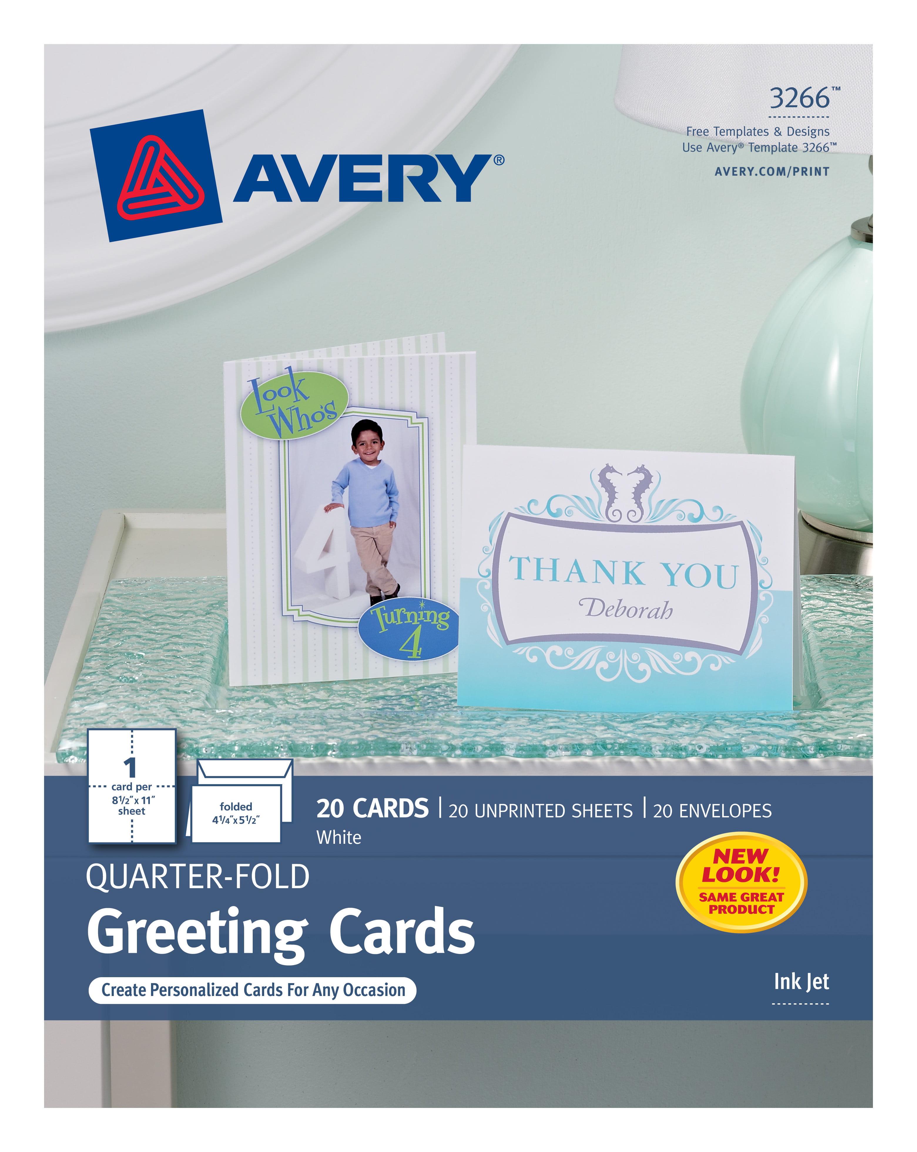 "Avery Quarter-Fold Greeting Cards, Matte, 2121211-21211/2121211"" x 21211-21211/21"", 210  Cards/Envelopes (32166) - Walmart.com With Regard To Quarter Fold Greeting Card Template"