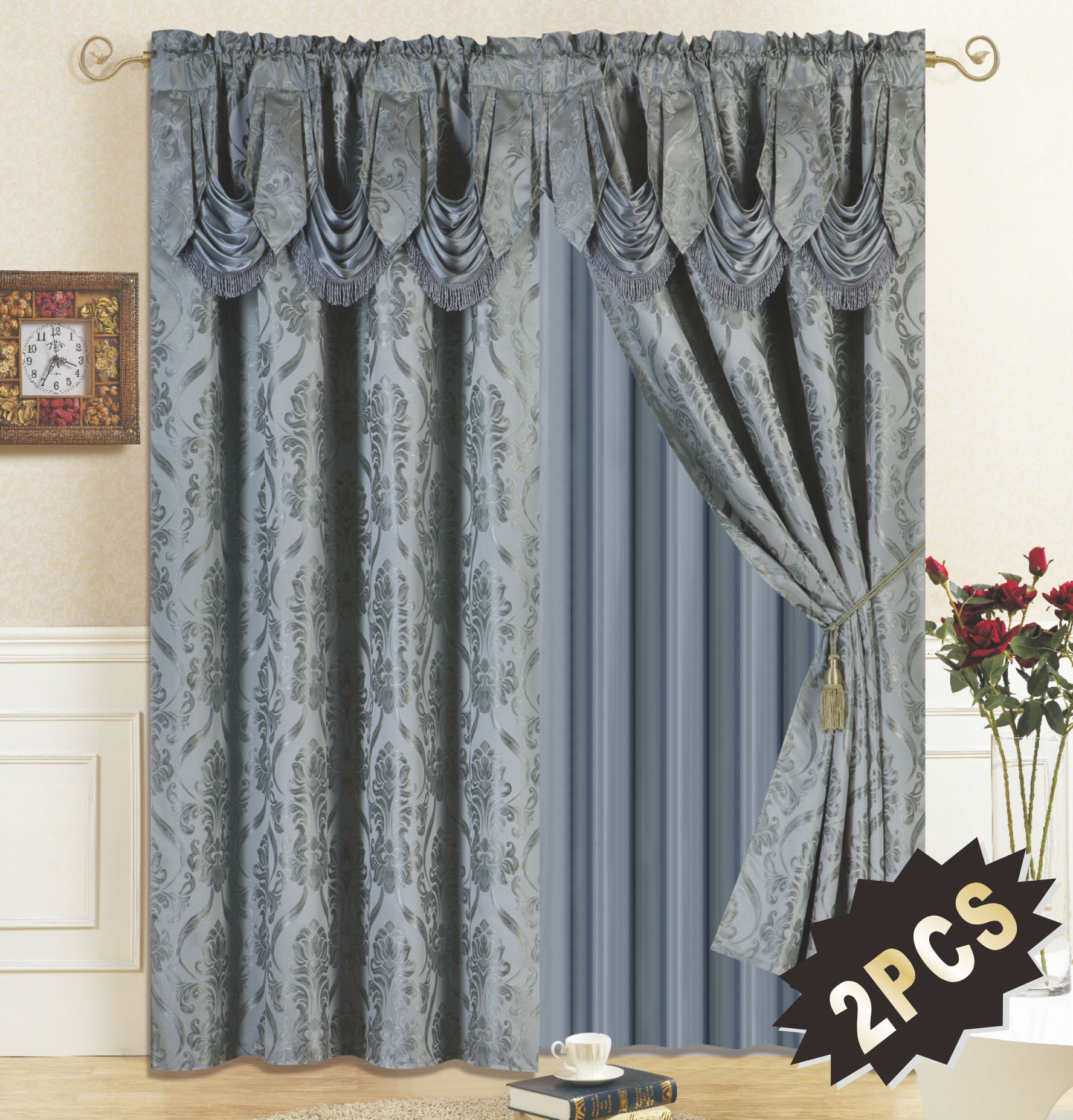 All American Collection New 4 Piece Drape Set with Attached Valance and Sheer with 2 Tie Backs Included