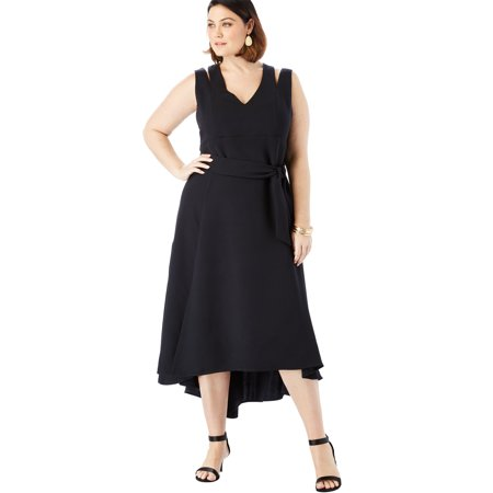 Roaman's Plus Size Sleeveless Fit & Flare Dress With High-low