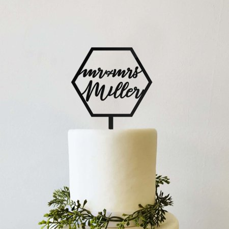 Custom Personalized Mr Mrs Name Black Hexagon Modern Geometric Rustic Wedding Cake Topper Cursive Calligraphy Script for $<!---->