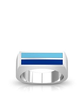 Spelman College Enamel Ring In Light Sky Blue And Blue