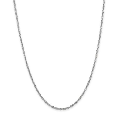 14k White Gold 2mm Link Singapore Chain Necklace 20 Inch Pendant Charm Fine Jewelry For Women Valentines Day Gifts For Her - image 9 of 9