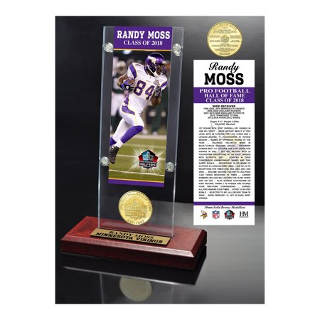 "Randy Moss Minnesota Vikings Highland Mint 2018 Pro Football Hall of Fame Induction 3.5"" x 9"" Ticket & Bronze Coin Acrylic Desk Top - No Size"