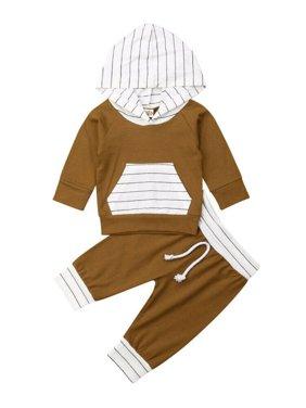 Hirigin Newborn Baby Boy Girl Hoodies Sweatshirts Tops Pants Outfits Clothes