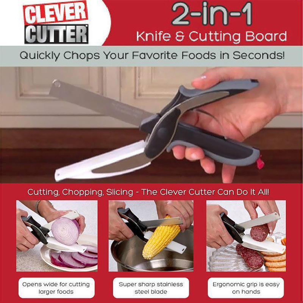 Metal Cutter 2-in-1 Knife Cutting Board Home Kitchen Scissors Smart Tool