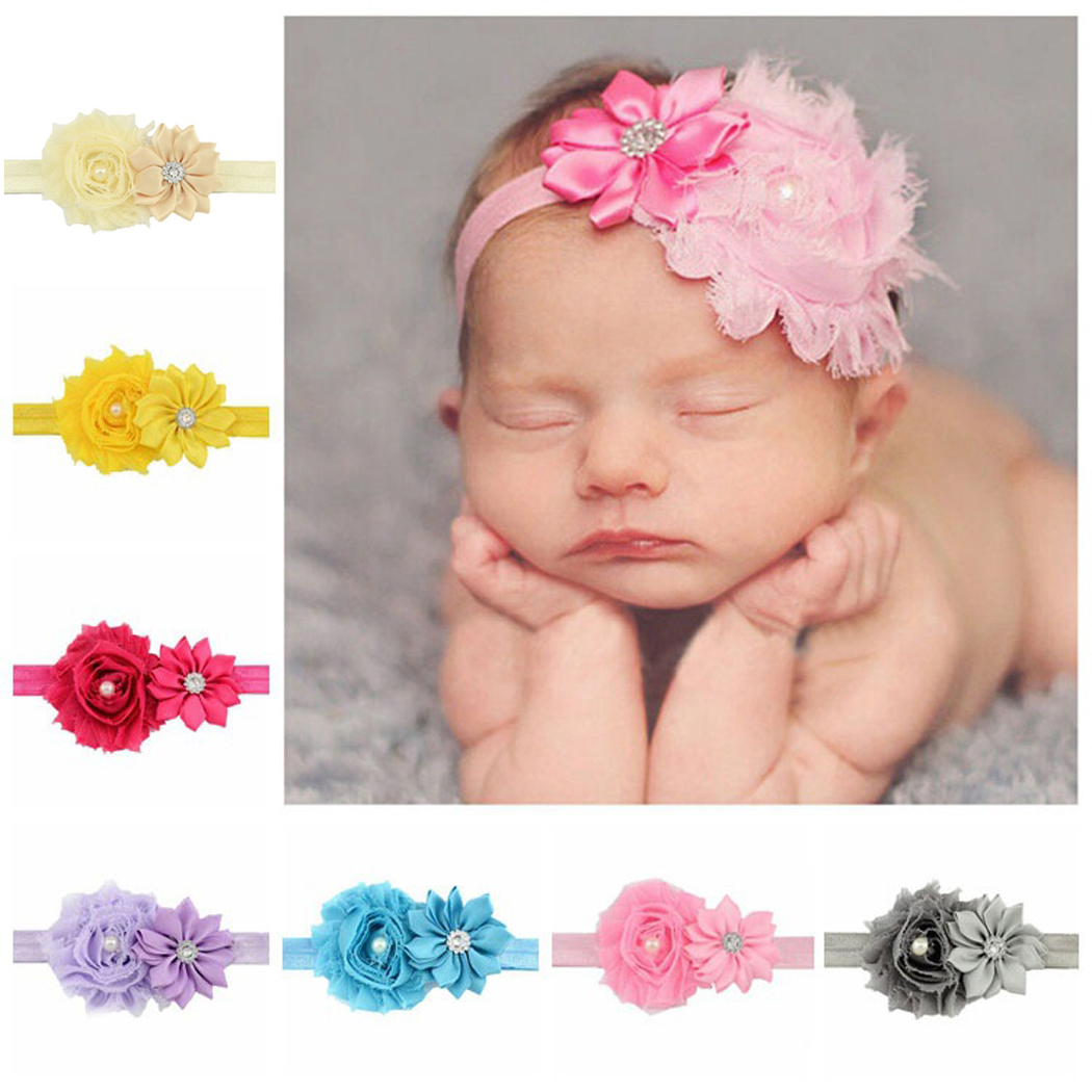 12 Pcs Baby Headbands, Aniwon Fashion Flower Ribbon Hair Bows Wrap For Girls Kids Toddler Colorful)