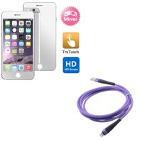 iPhone 8/7/6S/6 - Purple 10ft USB Cable w Mirror Screen Protector - Charger Cord Power Wire Braided Long, Film Display Cover for iPhone 8/7/6S/6