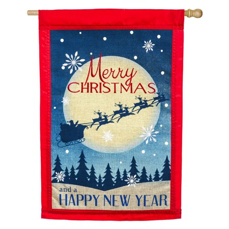 Christmas Flag Flags (Evergreen Flag Merry Christmas Santas Sleigh House)