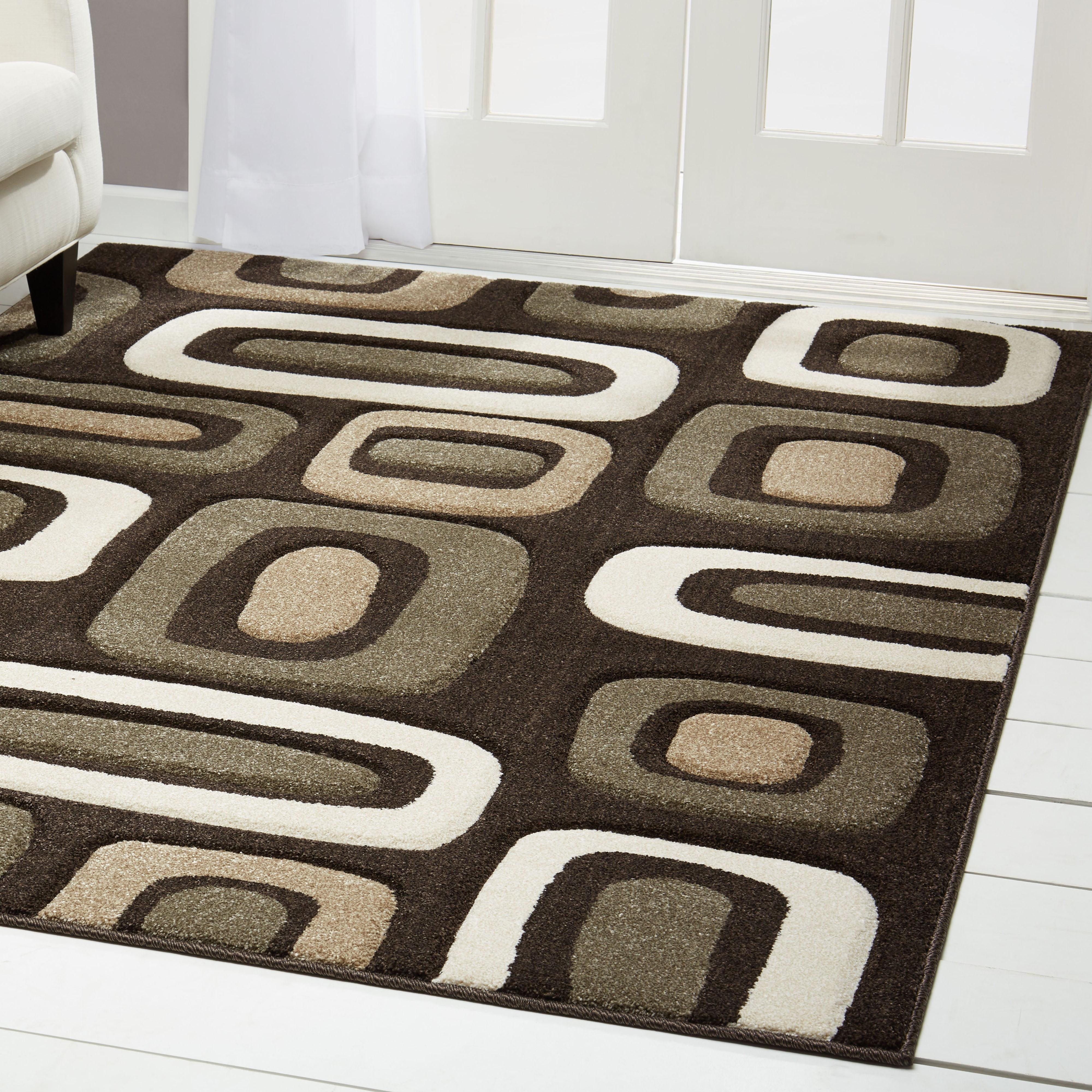 Home Dynamix Sumatra Modern Brown Geometric Block Hand-Carved Rug