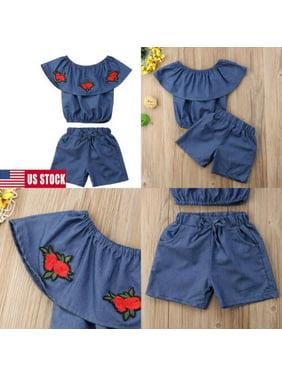 US2PCS Baby Girls Sleeveless Denim Tops T-shirt + Short Pants Jeans Set