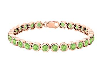 Peridot Tennis Bracelet 25 Carat Totaling in 14K Rose Gold Vermeil Sterling Silver Bezel Setting by Love Bright