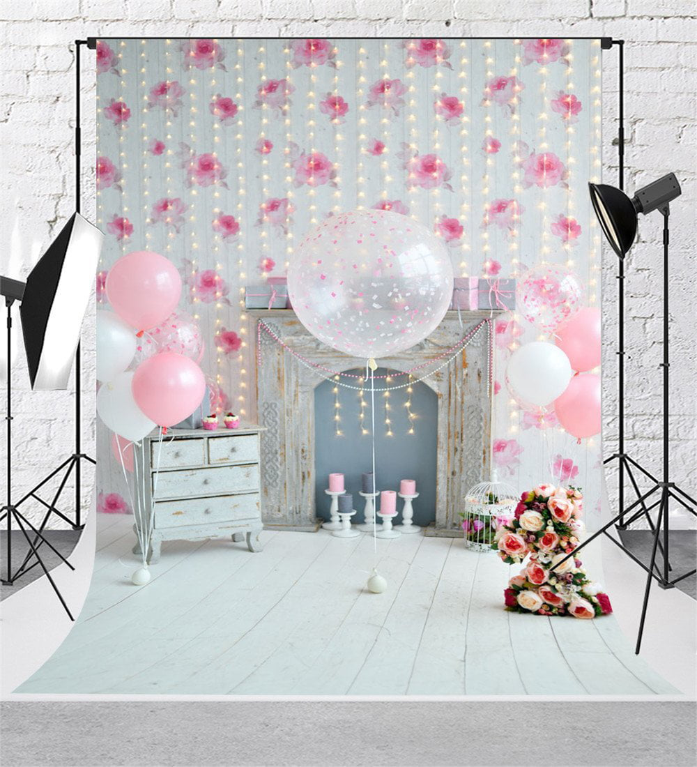 GreenDecor Polyster Pink Birthday Theme Photoshoot Background 5x7ft
