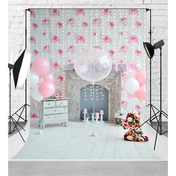 Greendecor Polyster Pink Birthday Theme Photoshoot Background 5x7ft Flowers Wall White Fireplace Photo Backdrops For 1st Birthday Backgrounds Walmart Com Walmart Com