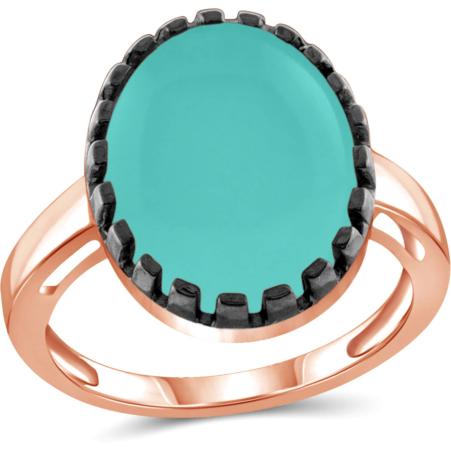 JewelersClub 9-3 4 Carat T.G.W. Chalcedony Rose Gold over Silver with Black Rhodium-Plated Fashion Ring by JewelersClub