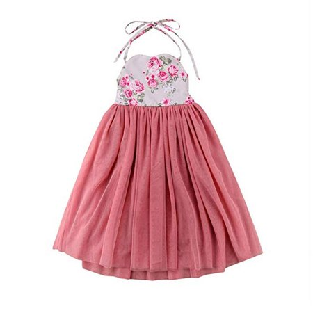 Baby Girls Sleeveless Halter Floral Print Princess Summer Long Dress for Party - Party Long Dresses For Girls