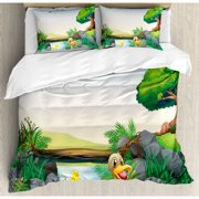 Ambesonne Duck Cartoon Mother and River Kids Fun Farm Animals Print Outdoor Little Feathers Duvet Cover Set