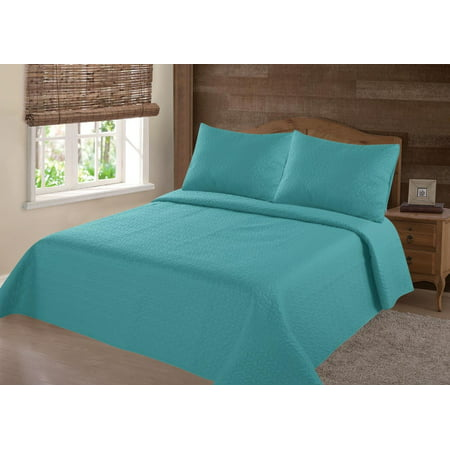 MODREN COLLECTION 1900 COUNT  KING NENA  TURQUOISE SOLID CLOSOUT QUILT BEDDING BEDSPREAD COVERLET PILLOW CASES SET