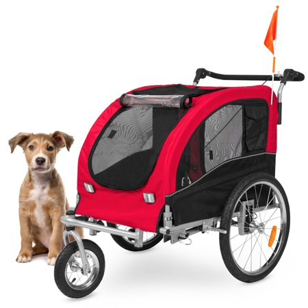 Best Choice Products 2-in-1 Pet Stroller and Trailer, Red, with Hitch, Suspension, Safety Flag, and (Best Bike Trailers 2019)