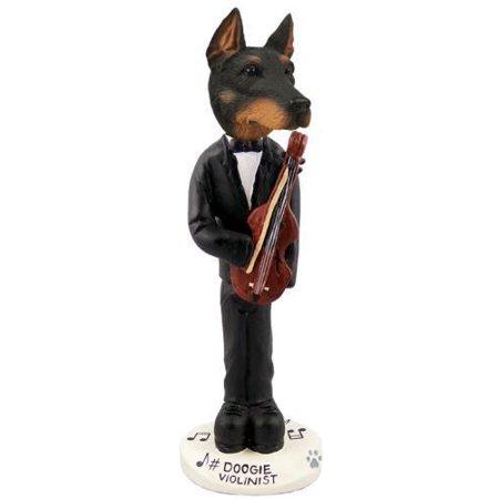 Doberman Pinscher Black W/Cropped Ears Violinist Doogie Collectable Figurine