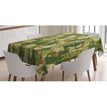 Camo Tablecloth, Soldier Kittens Protective Cat Army Theme Defense Jungle Colors Military, Rectangular Table Cover for Dining Room Kitchen, 52 X 70 Inches, Green Dark Green Cream, by Ambesonne ()
