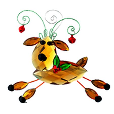 Prancing Reindeer Faux Crystal Christmas Ornament - By Ganz
