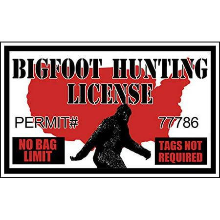 3x5 inch Bigfoot Hunting License Sticker (Funny Permit Hunter Sasquatch Hunt)