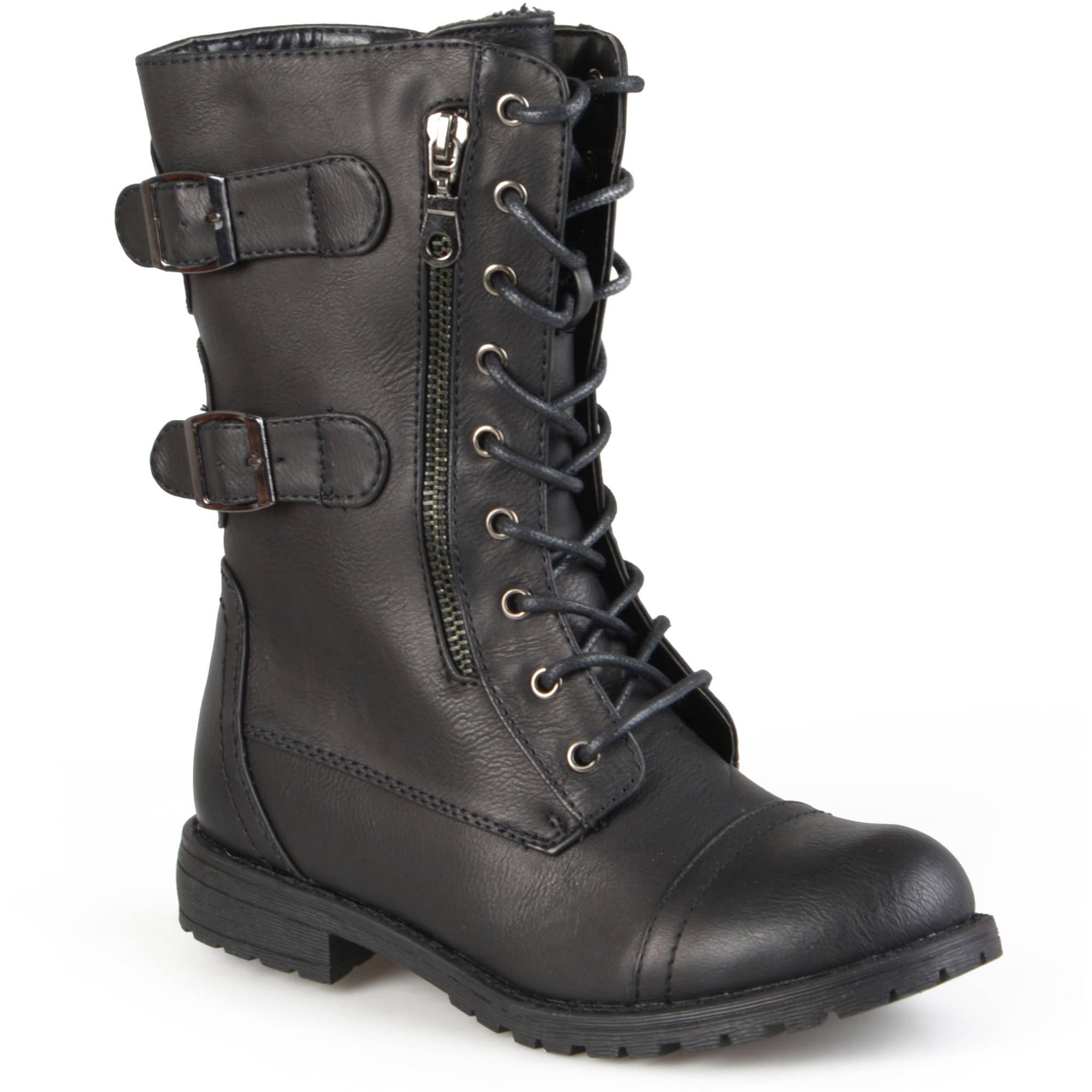 Brinley Co Womens Buckle Detail Lace-up Boots - Walmart.com