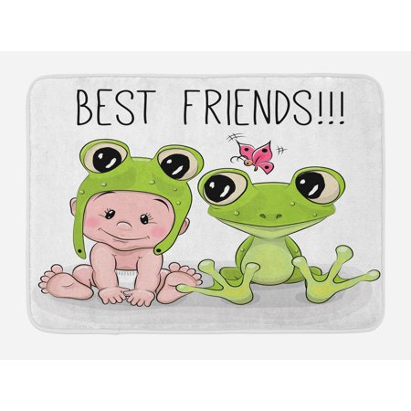 Animal Bath Mat, Cute Cartoon Baby in Froggy Hat and Frog Best Friends Love Theme Graphic, Non-Slip Plush Mat Bathroom Kitchen Laundry Room Decor, 29.5 X 17.5 Inches, Cream White Green,