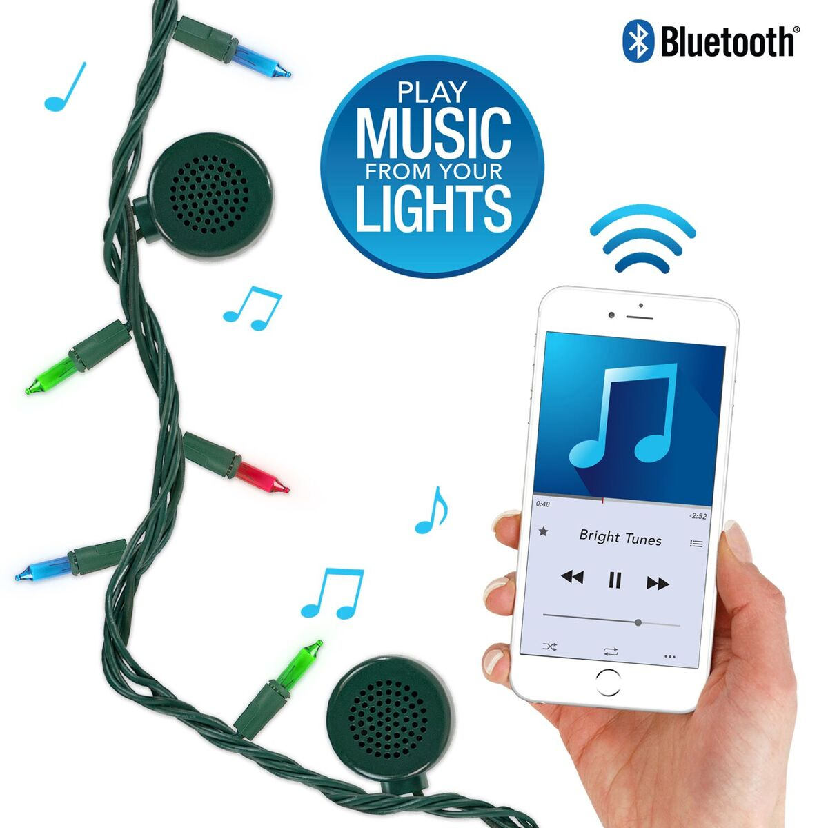 Bright Tunes Indoor Outdoor Multi Colored Incandescent String Lights with Bluetooth Speakers, Green Cord by Innovative Technology