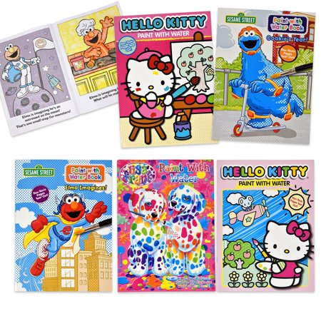 Hello Kitty Coloring Pages Halloween (Paint with Water Activity Book - Sesame Street Elmo Hello Kitty Lisa Frank Set of 5 for Kids Toddlers & Girls Mess Free Travel Coloring)