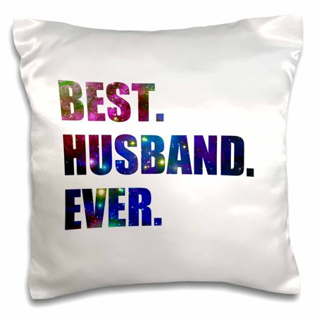 3dRose Best Husband Ever - cut out of outer space stars and galaxies graphic, Pillow Case, 16 by