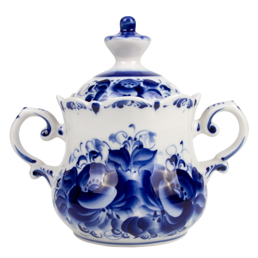 Gzhel Porcelain Sugar Bowl Apple