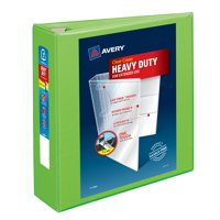 """Avery Heavy-Duty View 3 Ring Binder, 3"""" One Touch EZD Ring, Holds 8.5"""" x 11"""" Paper, Chartreuse (79779)"""