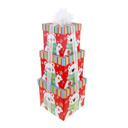 Holiday Polar Bear Square Nested Christmas Gift Boxes, 5, 6 and 7-Inch, 3-Piece - Christmas Boxes