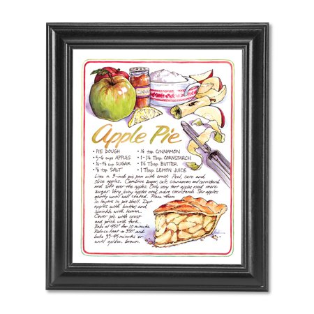 Homemade Apple Pie Recipe Kitchen Cafe Diner Wall Picture Black Framed